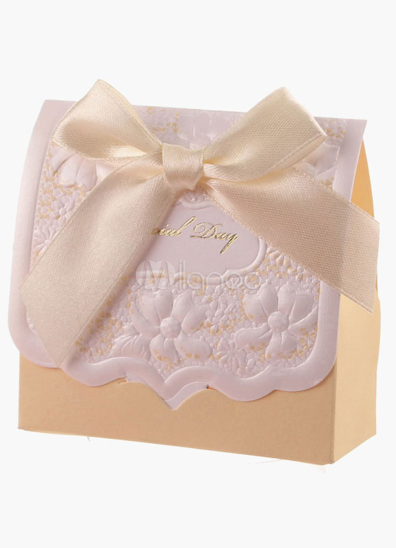 Nude Bow Specialty Paper Box Favor for Wedding Set of 12