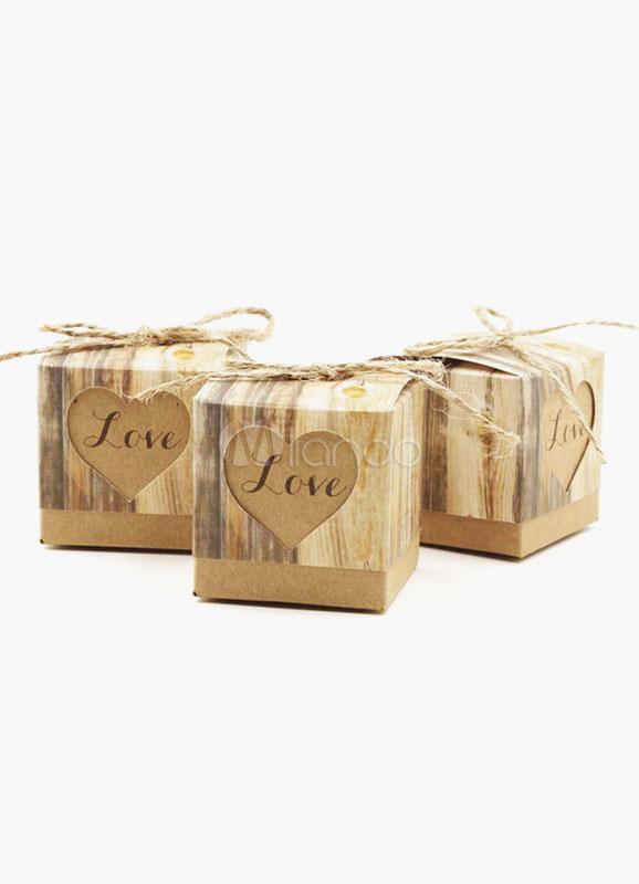 Brown Square Spezialitat Papier Candy Box Gunst Fur Hochzeit Set 12