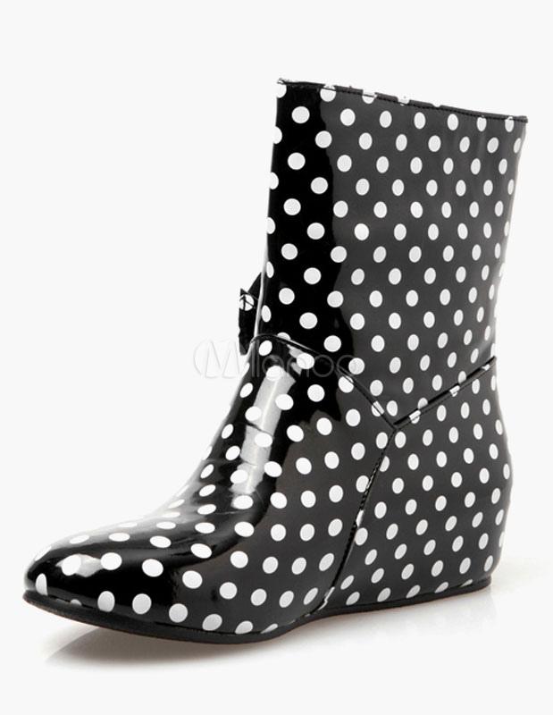 PU negro patente mediados ternero botas para las mujeres JJZY2