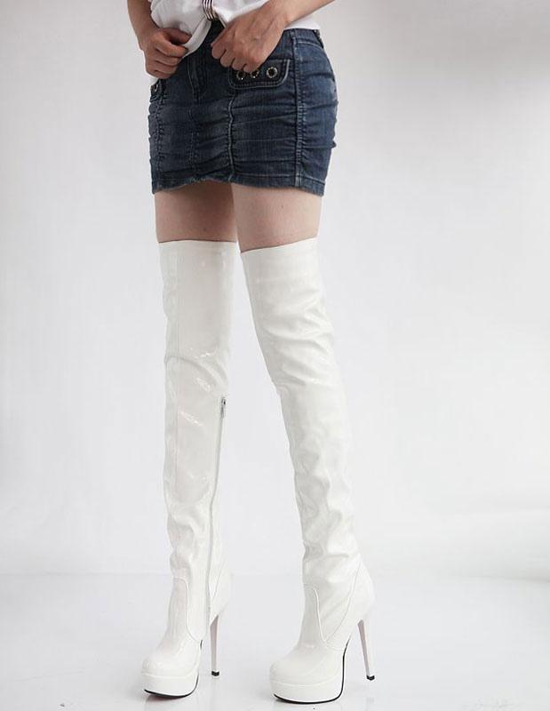 Muslo de alta botas de patente blanca PU plataforma de rodilla botas para las mujeres 4XSkg7bv
