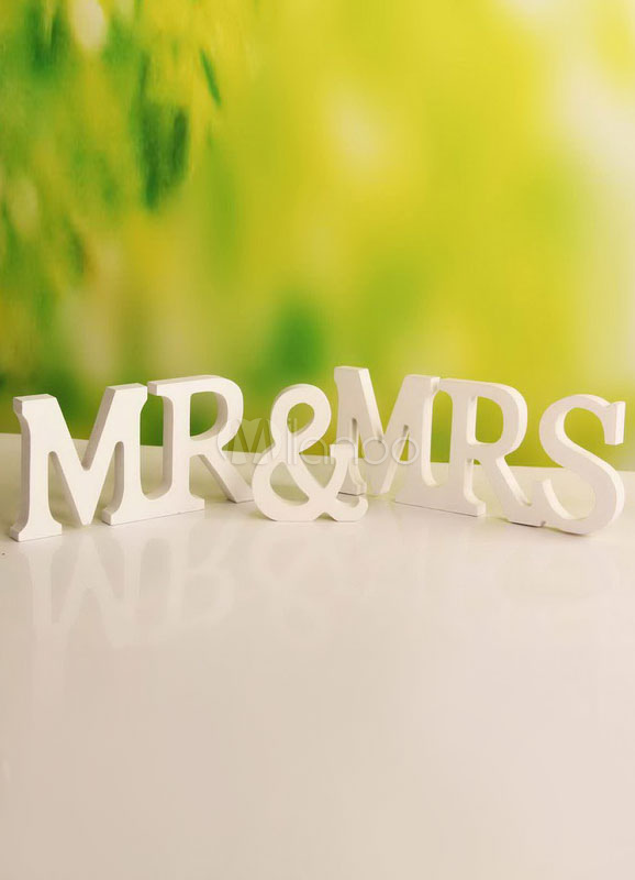 White Mr&MrsWood Wedding Decorations