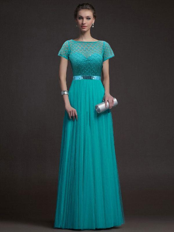 Lace Long Dress Turquoise Short Sleeve Sash Women Maxi Party Dress
