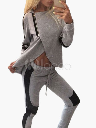 Gray Two-Tone Polyester Suit For Woman