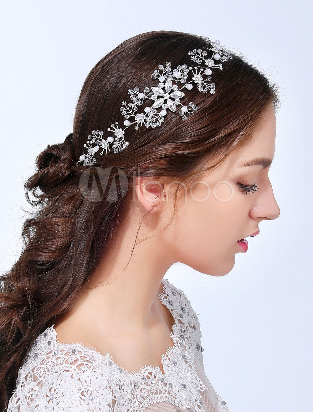 Silver Imitation Pearl Alloy Head Flower for Wedding
