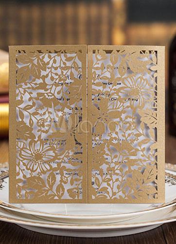 Gold Paper Flat Card Wedding Cards 50-Piece