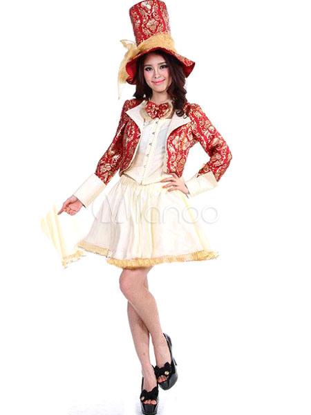 Halloween Rot Hutmacher Kostüm 4 Teilig Alice Im Wunderland Aus