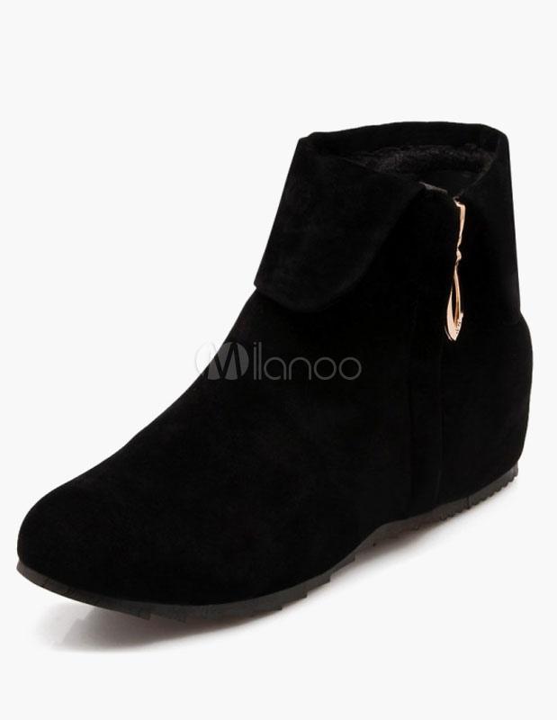 1912bc867 Ante Micro negro botines planos para mujeres - Milanoo.com