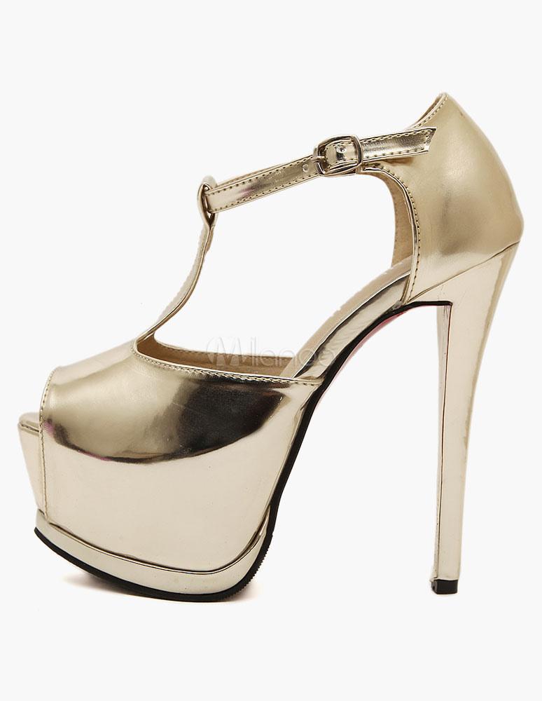 silber glasiert pu plateau sandalen f r damen. Black Bedroom Furniture Sets. Home Design Ideas
