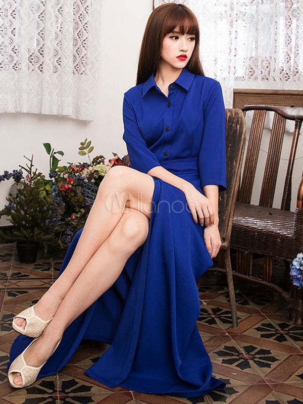 robe longue bleu fendu avec bouton col large. Black Bedroom Furniture Sets. Home Design Ideas