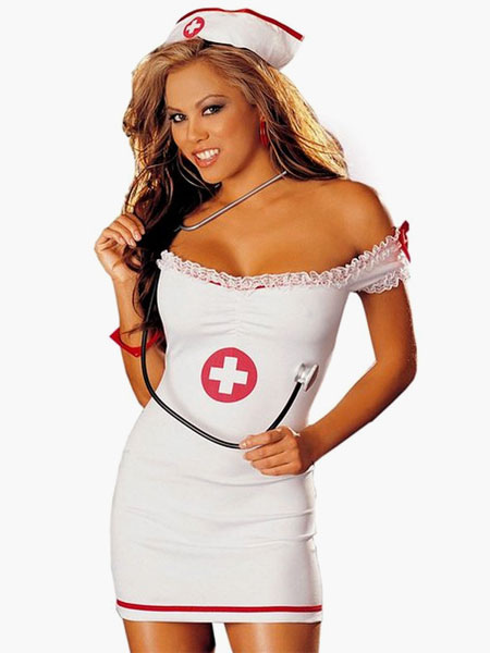 White Off the Shoulder Nurse Costume for Women