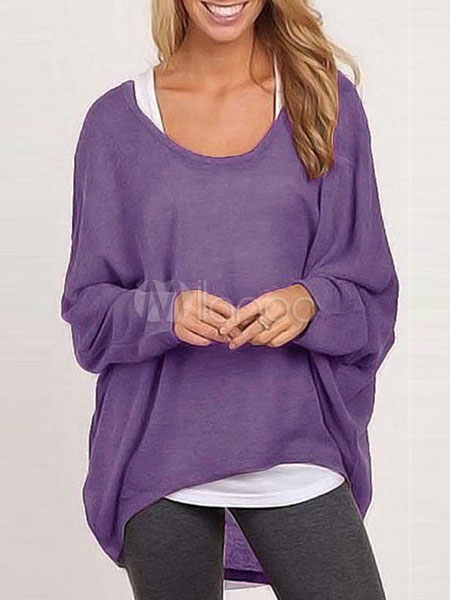 Purple Hi-Lo Cotton Causal Pullovers For Women
