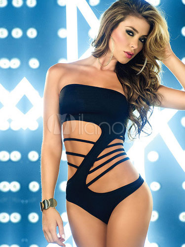 Black Sexy Cut Out Polyester Teddies For Women