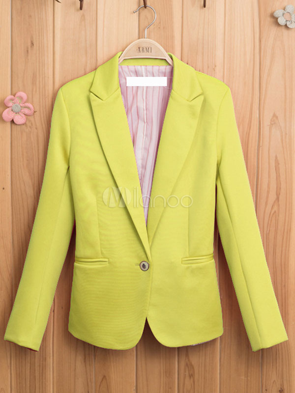 Lime Green Cotton Slim Fit Blazer for Women Cheap clothes, free shipping worldwide