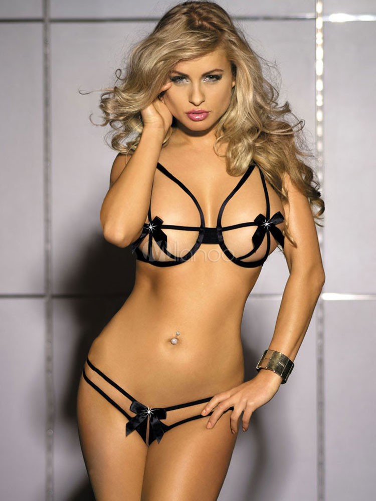 Sexy Black Bows Polyester Bra for Women