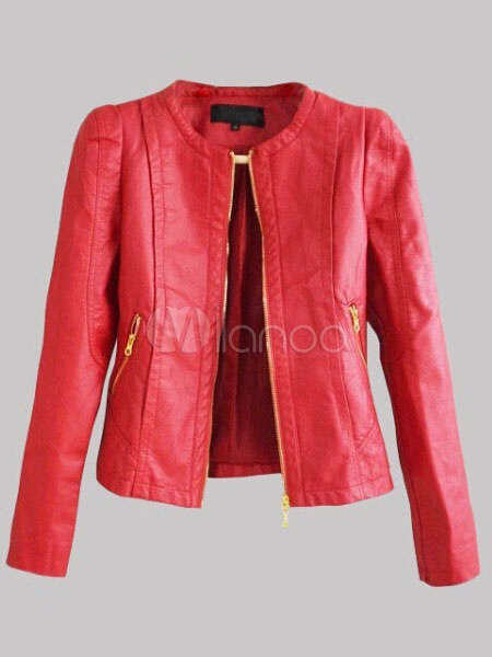 Red Leather Jacket Women Leather Coat Zippered Long Sleeve Motorcycle Jacket Cheap clothes, free shipping worldwide