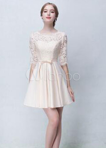 Champagne Satin Lace Short Bridesmaid Dress for Woman