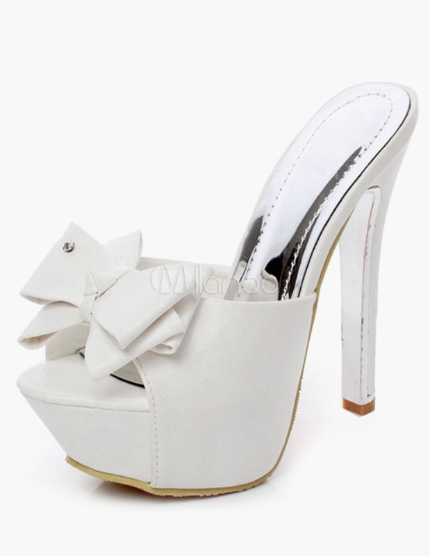 sneakers for cheap 729e9 a0ff4 White Bow Tie PU Platform Slides for Women