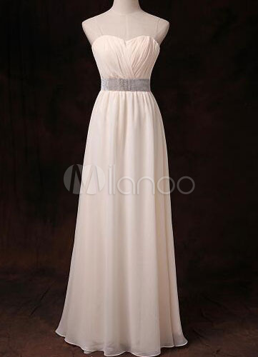 Buy Gold Champagne Bridesmaid Dress Chiffon Sweetheart Strapless Rhinestones Beading Waist Long Bridesmaid Dress for $78.84 in Milanoo store