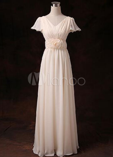 Buy Chiffon Bridesmaid Dress Short Sleeve V Neck Gold Champagne Waist Flowers Long Bridesmaid Dress for $80.99 in Milanoo store