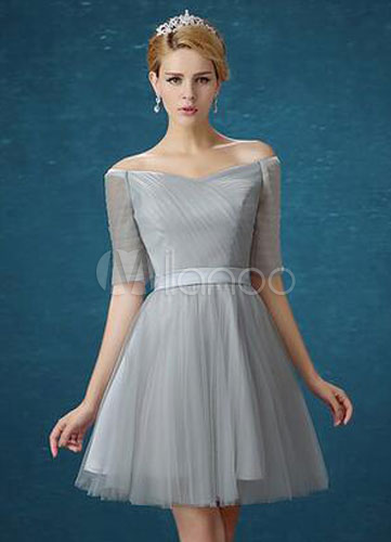 Silver Gray Bridesmaid Dresses Tulle Short Bridesmaid Dress For Woman