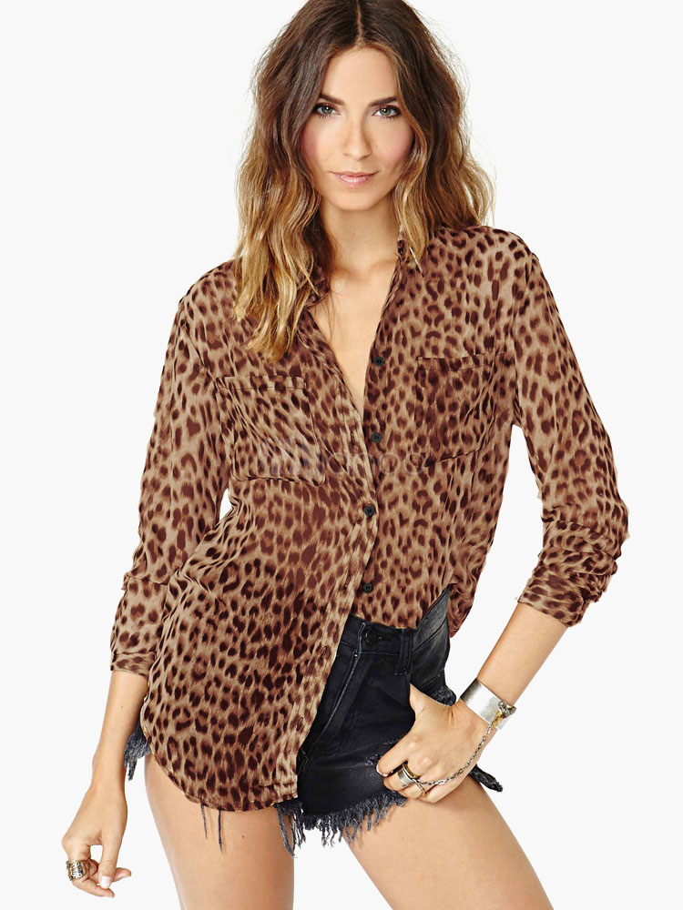 Sexy Leopard Print Chiffon Blouse For Women Cheap clothes, free shipping worldwide
