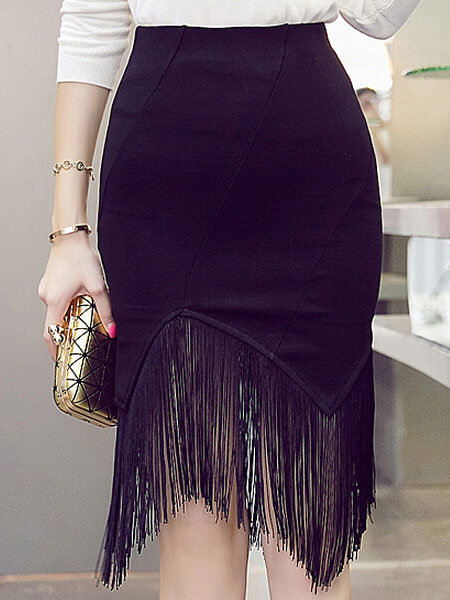 Black Fringe Spandex Skirt For Women Cheap clothes, free shipping worldwide