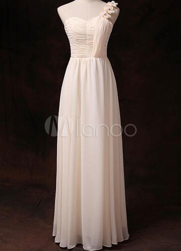 Buy Chiffon Bridesmaid Dress Gold Champagne One Shoulder Sweetheart Empire Waist Long Bridesmaid Dress for $80.99 in Milanoo store