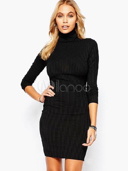 seleccione para el último precio inmejorable zapatos de temperamento Negro cuello alto vestido de punto para mujer