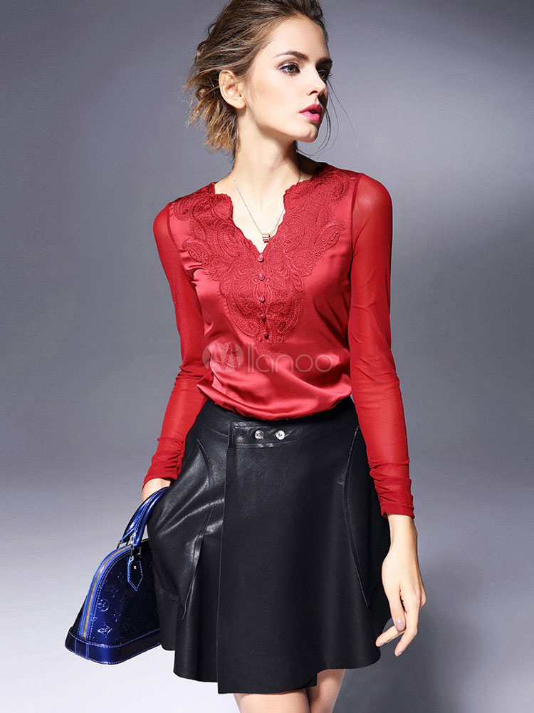 Red Lace V-Neck Acetate Top For Women