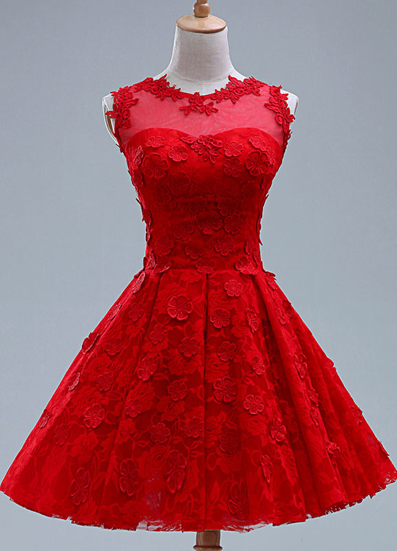 Red Applique Lace Short Bridesmaid Dress for Woman