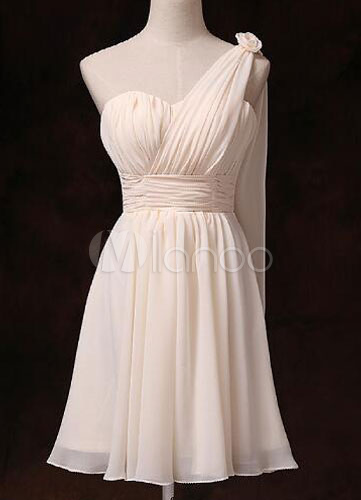 Buy Short Bridesmaid Dress One Shoulder Ruched Waist Sweetheart Chiffon Gold Champagne Bridesmaid Dress With Side Draping for $78.84 in Milanoo store