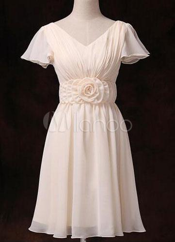 Buy Chiffon Bridesmaid Dress Short Sleeve V Neck Gold Champagne Waist Flowers Short Bridesmaid Dress for $78.84 in Milanoo store