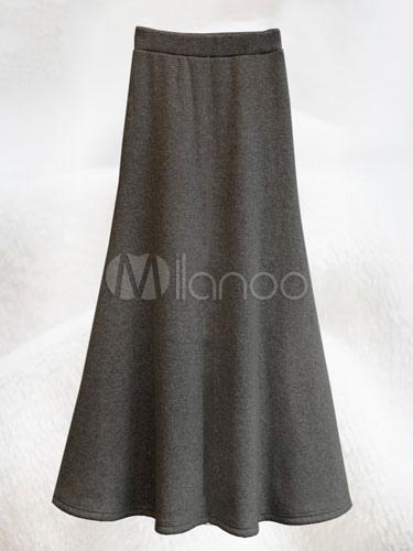 c32138a6f Profundo gris algodón fibras falda larga para las mujeres