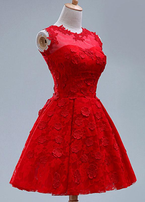 afcdfc4e9310 Vestido Dama Encaje Para Corto De Applique Rojo Mujer Honor ZPkOXui