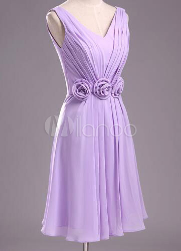 Pleated Short Lilac Chiffon Bridesmaid Dress with Flowers
