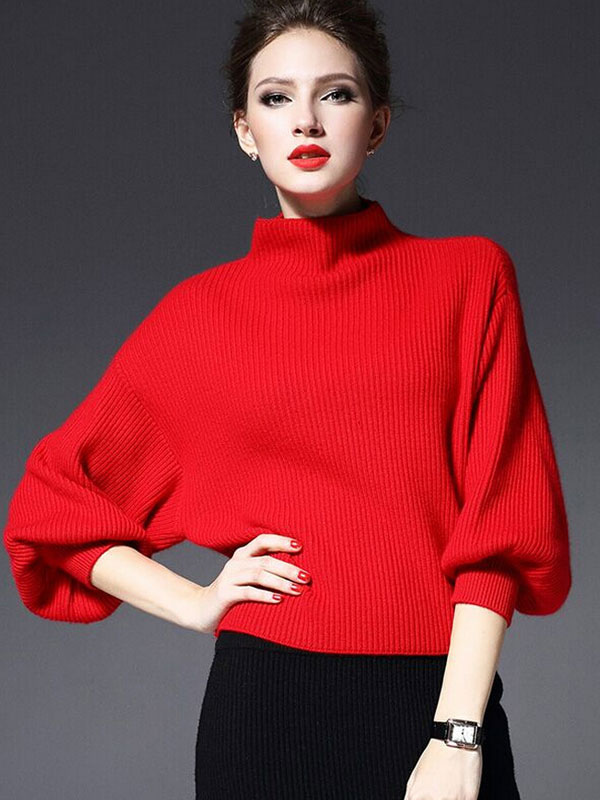 Red Stand Collar Roman Knit Pullovers for Women