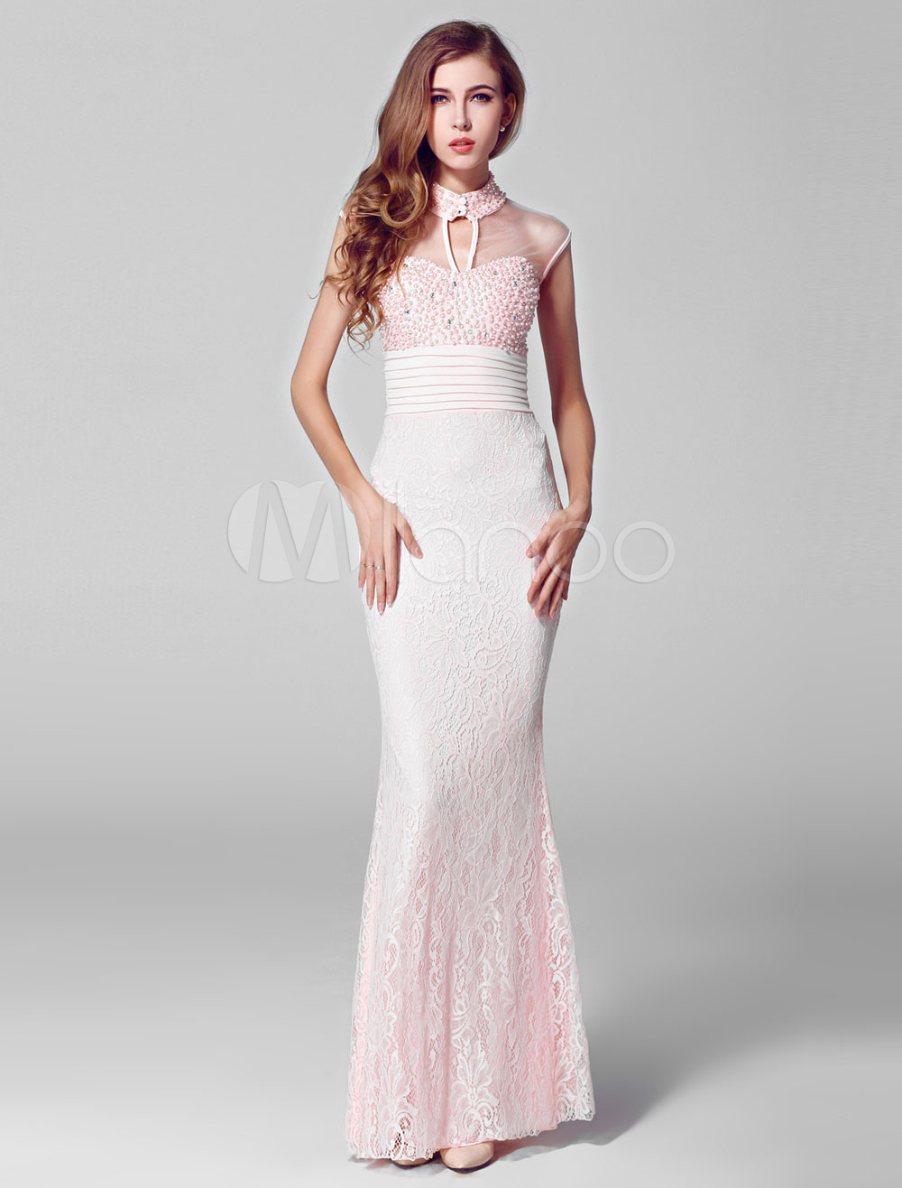 Pink Pearl Beaded Illusion Keyhole Neckline Lace Prom Dress with Bow at Back