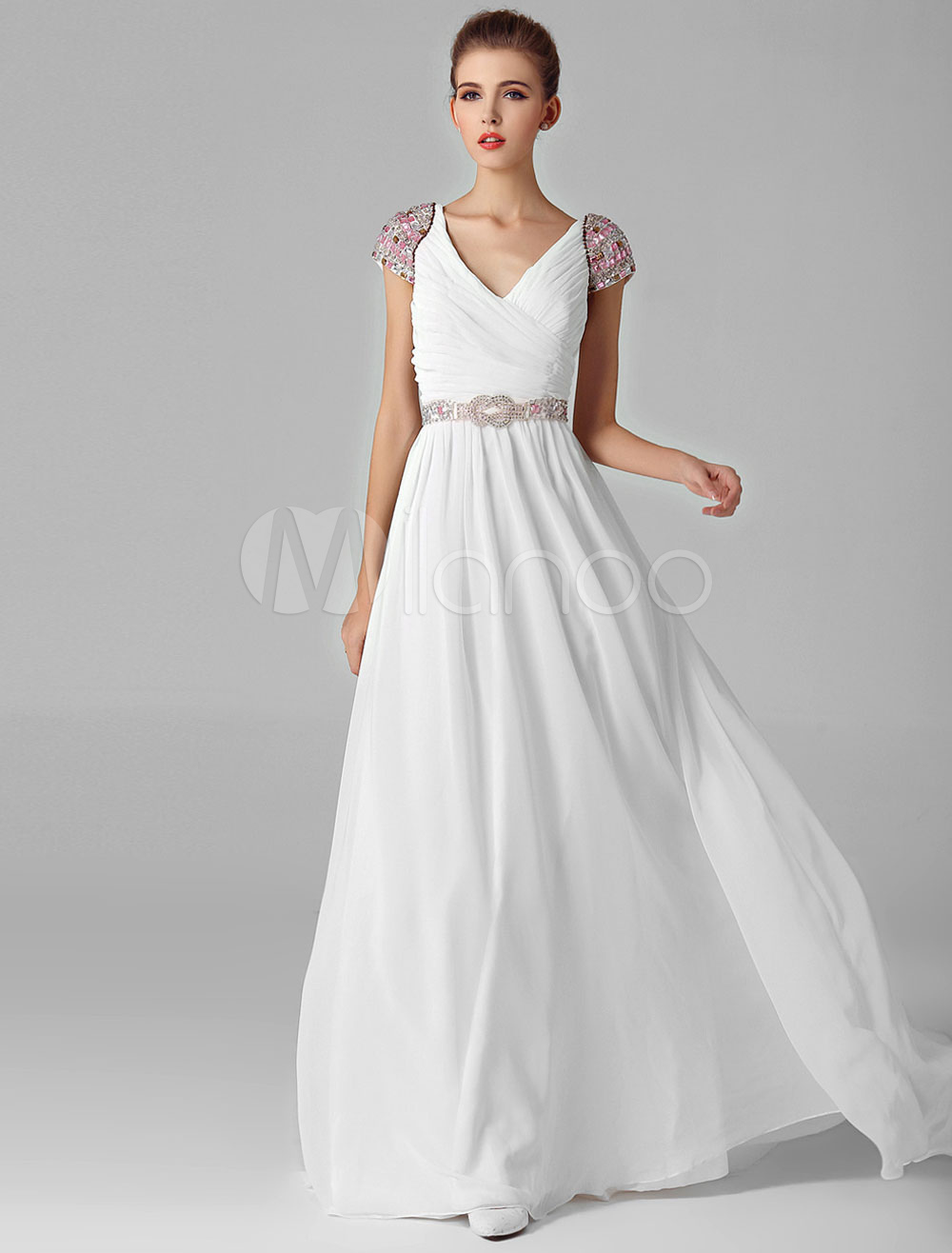 3ab48dea7f476 Beading Cap Sleeves Ruched Bodice Chiffon Evening Dress with tonal Beading  Belt - Milanoo.com