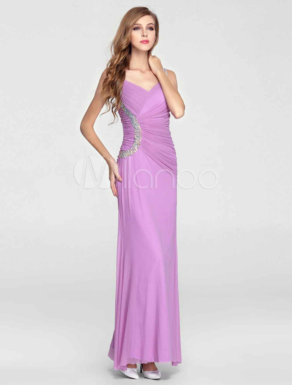 Lilac Ruched Long Prom Dress with Beading Accents