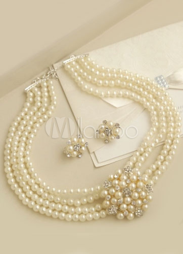 White Imitation Pearl Layered Wedding Necklace (16 Inches)