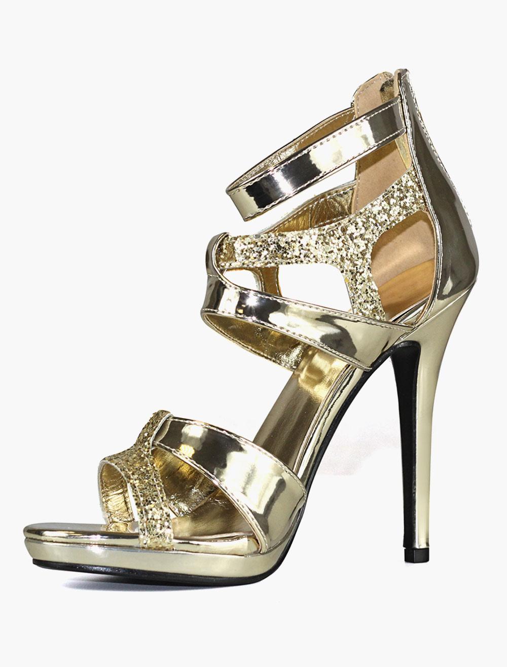 Goldene High Heels Sandaletten Für Hochzeit Brautschuhe