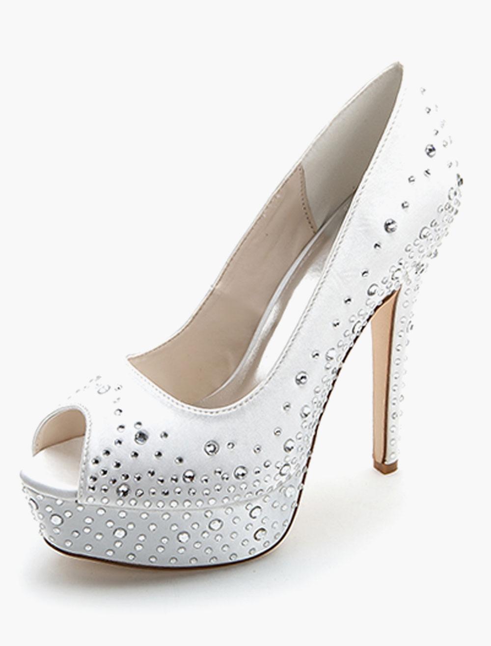 White Peep Toe Satin Evening and Bridal Sandals with Rhinestones