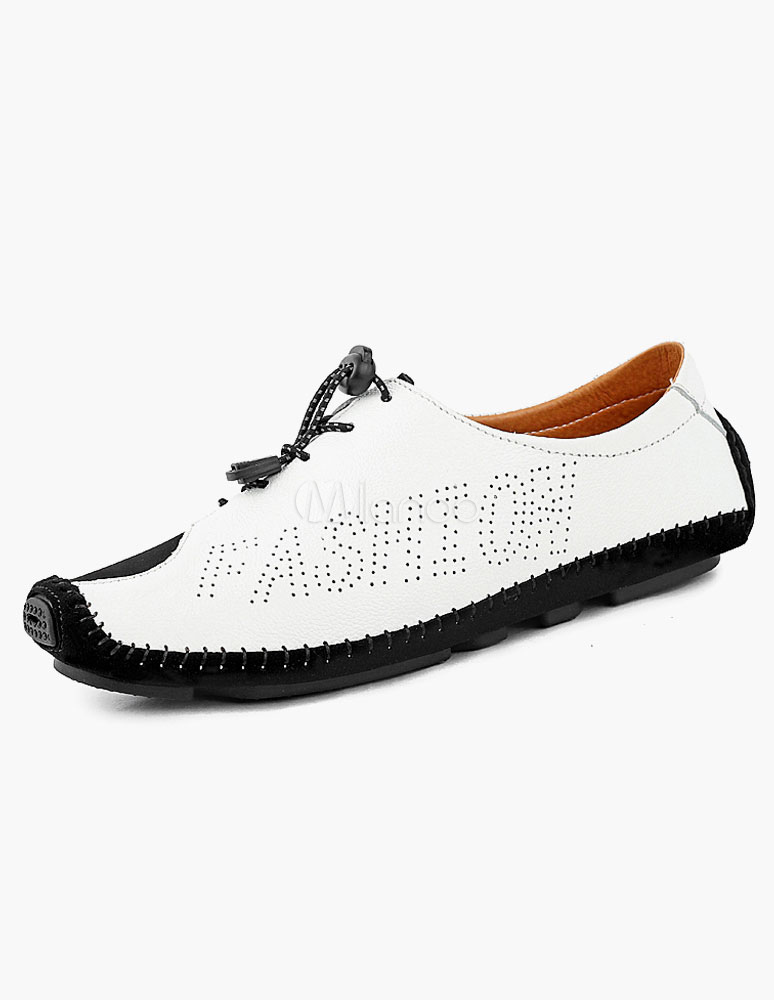 White Cowhide Casual Shoes for Men