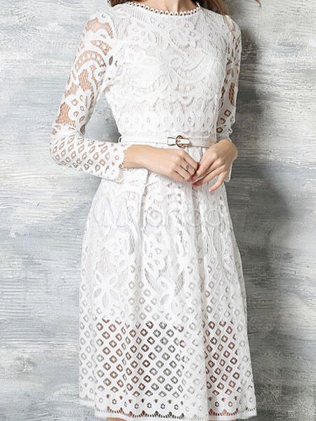Vintage Style Lace Dress White Long Sleeve Semi Sheer Skater For Women No