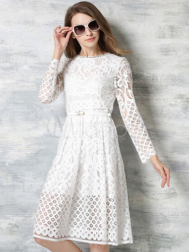 Vintage Style Lace Dress White Long Sleeve Semi Sheer Skater Dress For  Women-No. 64a6dfff7