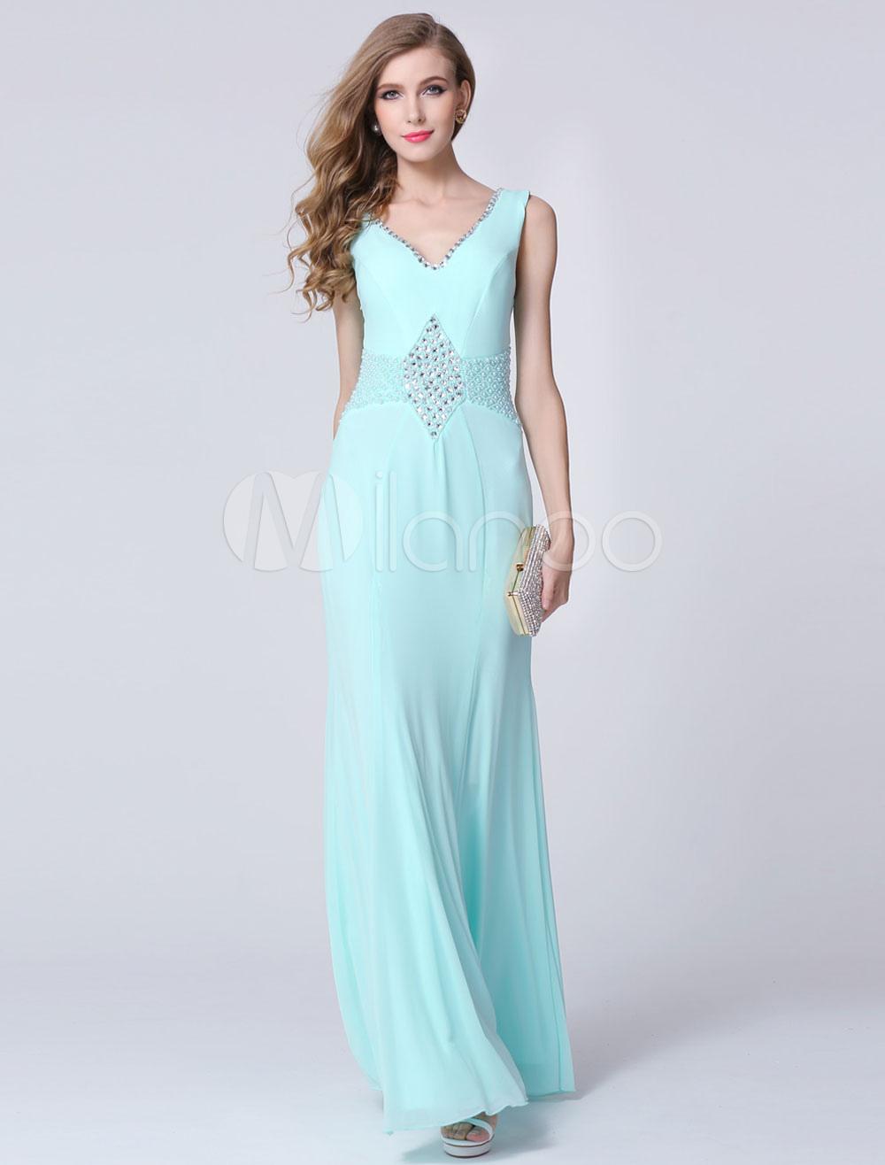 Light Sky Blue Double V-Look Mermaid Chiffon Prom Dress with Beading