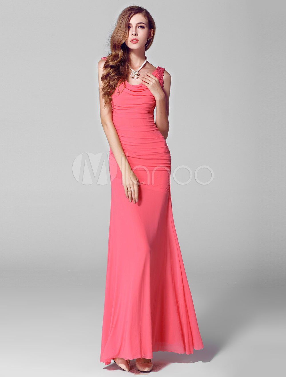 Mermaid Ruched Evening Gown with Beading  Straps