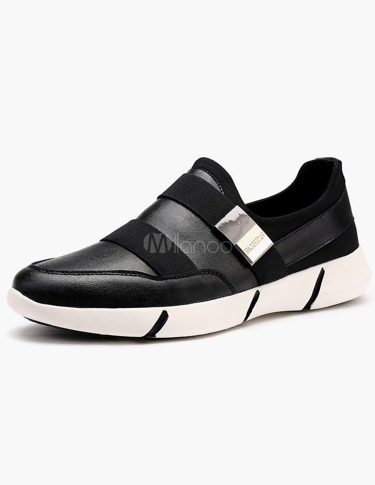 Black Buckle PU Casual Shoes for Men