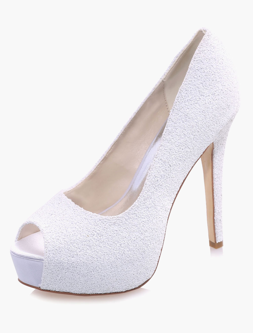 White Peep Toe Sequined Cloth Evening and Bridal Sandals