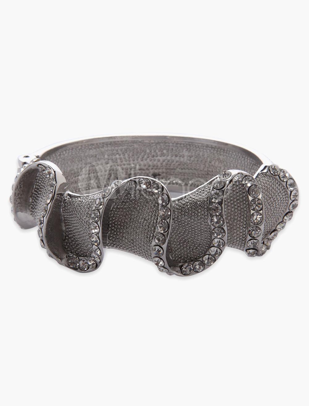 Gray Wave Style Rhinestone Bracelet